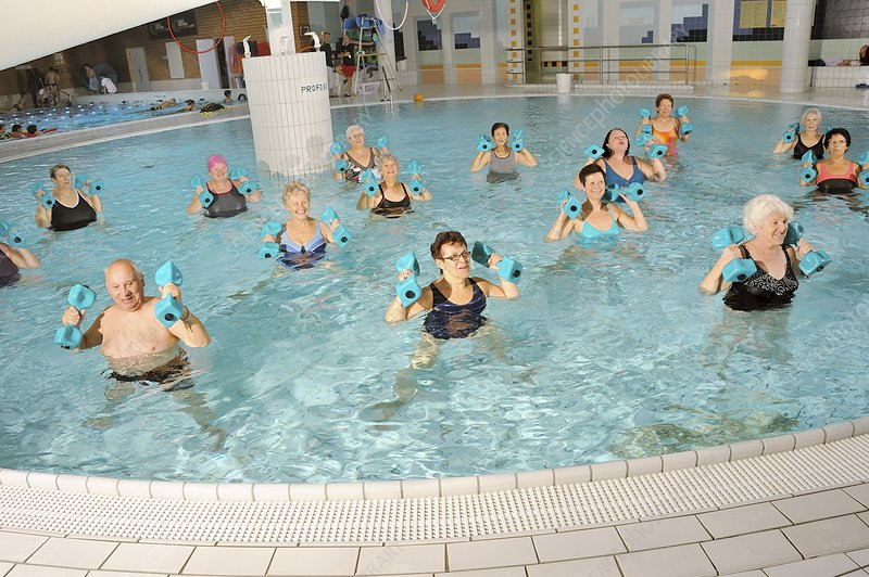 Water aerobics class for pensioners