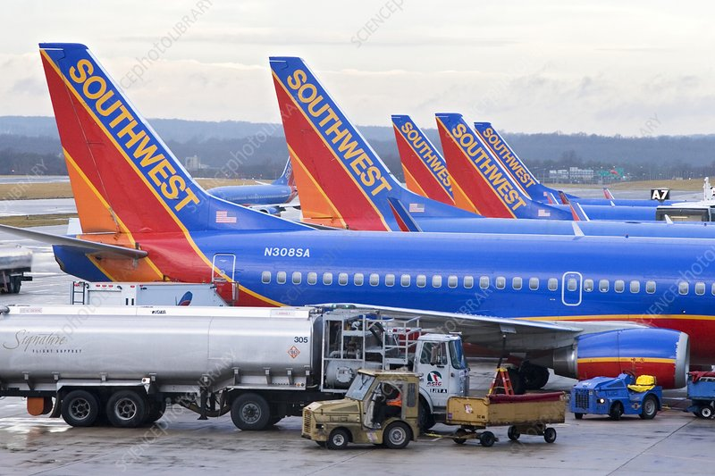 Passenger jet airliners at airport