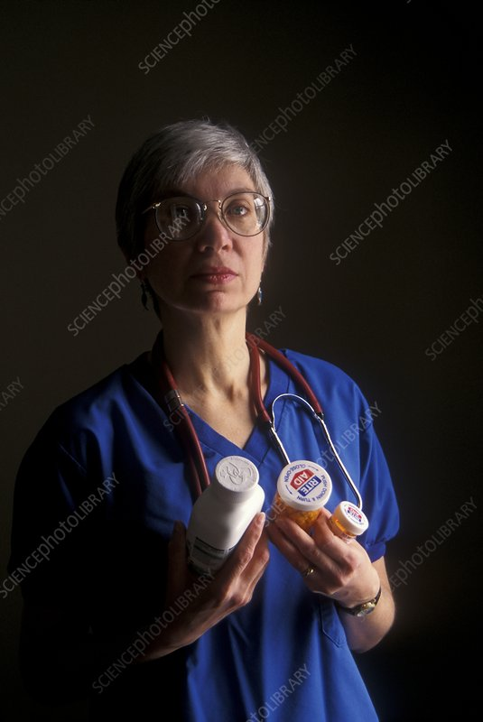 Nurse with anti-HIV medications