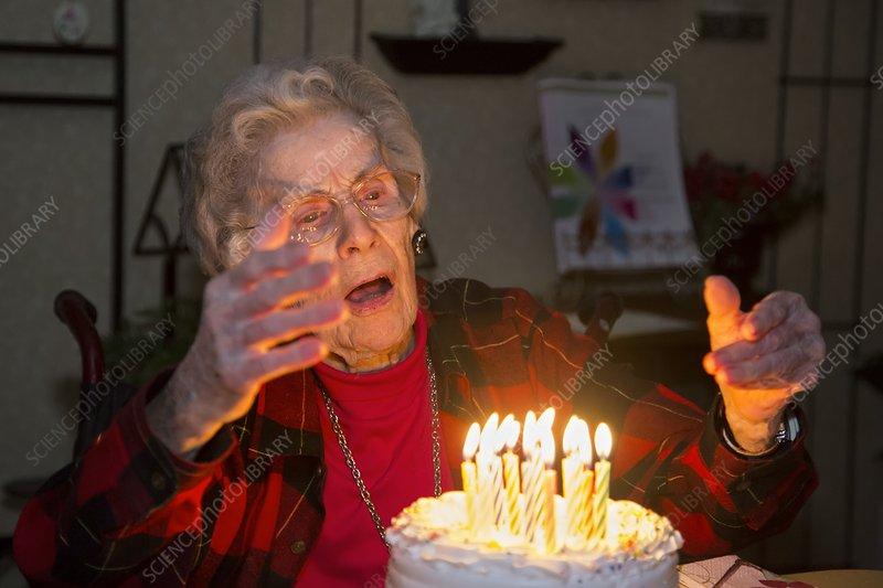 Woman celebrating her 99th birthday