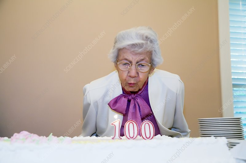 Woman celebrating her 100th birthday