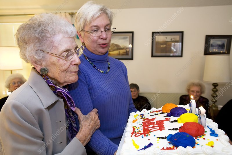 Woman celebrating her 95th birthday
