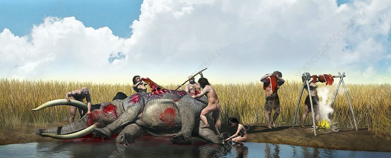 Prehistoric hunting, artwork