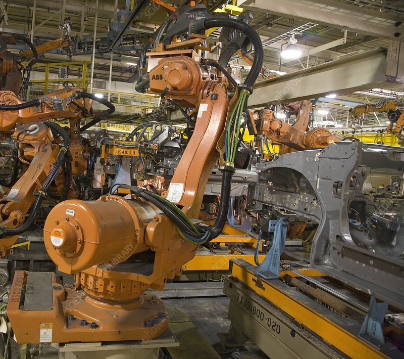 Robot on car assembly production line