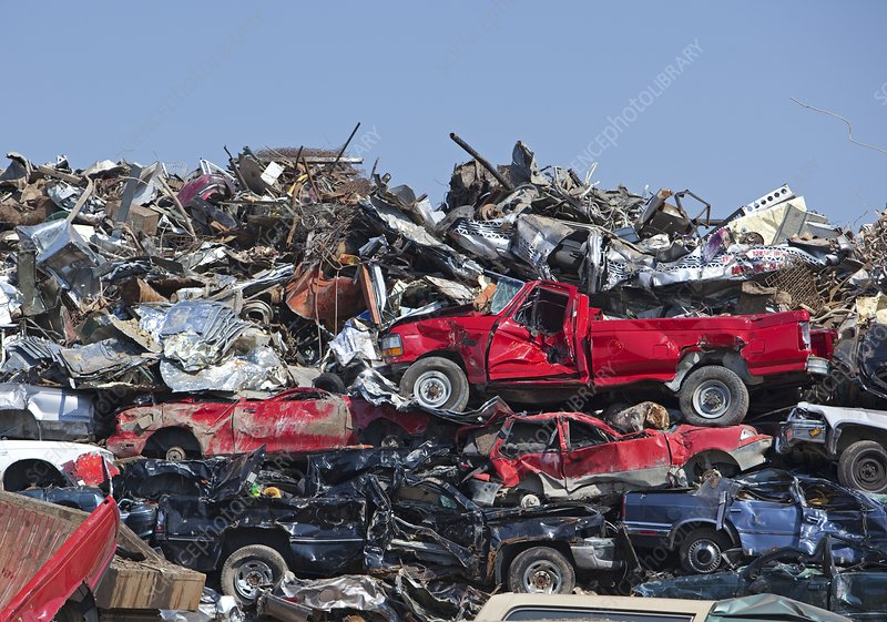 Crushed cars at scrapyard