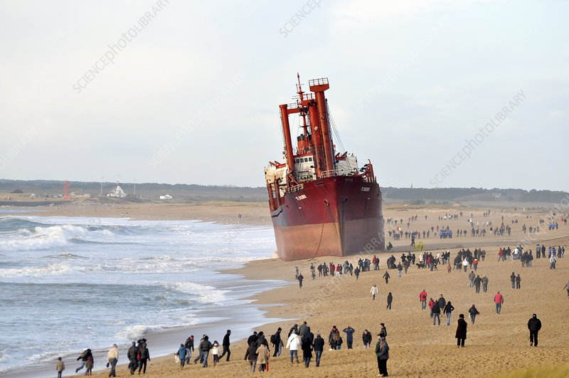 Beached cargo ship TK Bremen