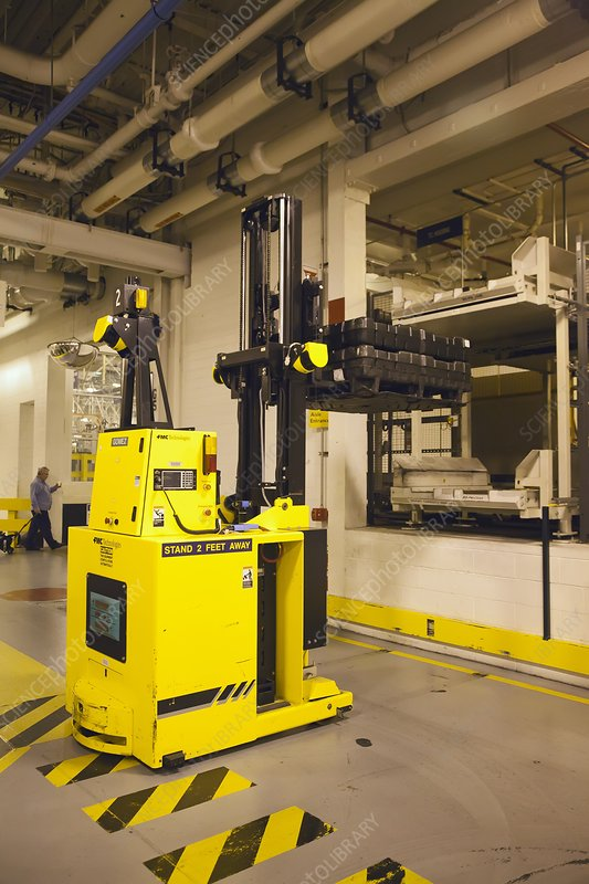 Automated forklift at a car factory