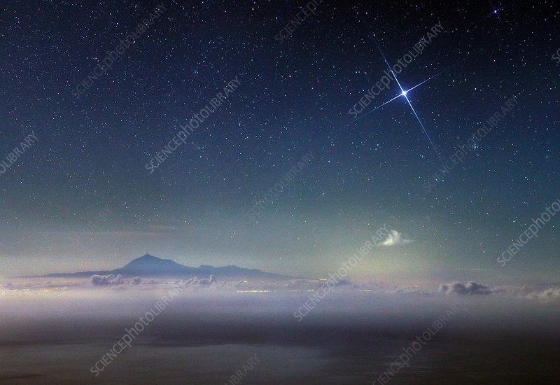 Night sky over mount Teide