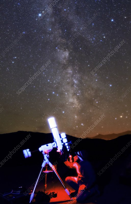 Astronomer under a starry sky
