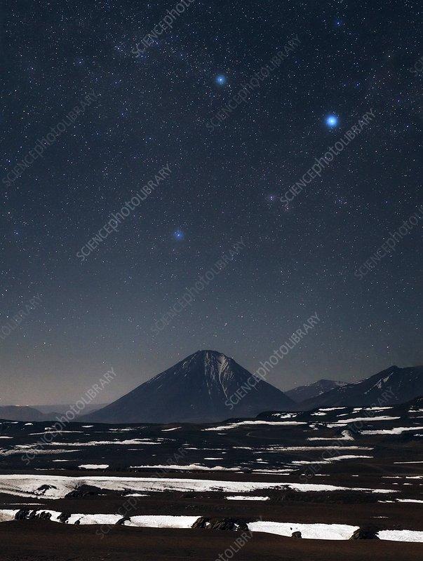 Night sky over the Licancabur volcano