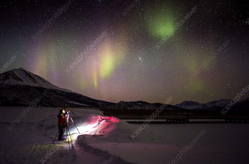 Aurora Borealis and Photographer, Alaska