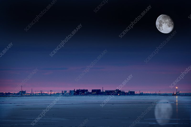 Moon over Prudhoe Bay