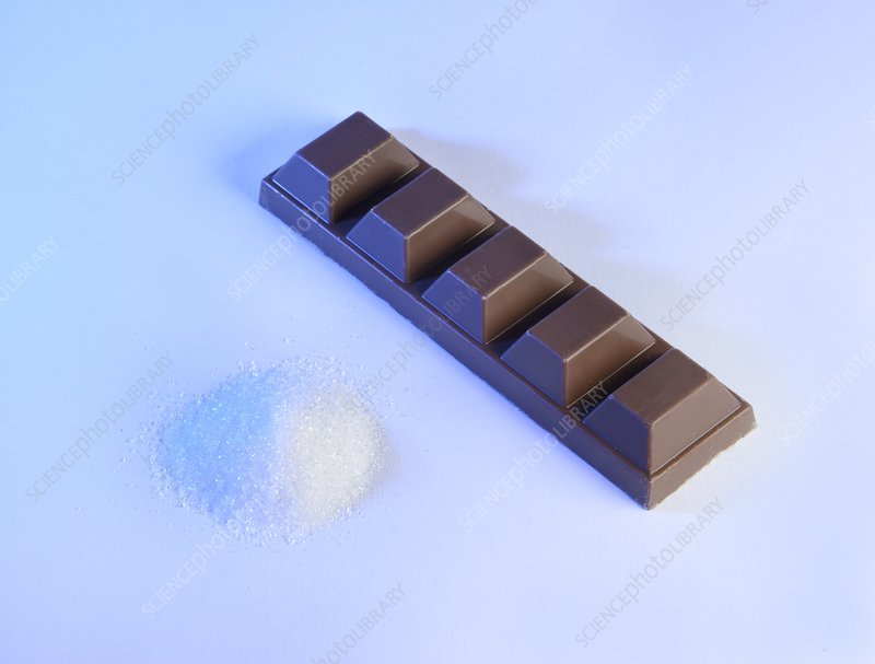 Teaspoon of sugar with bar of chocolate