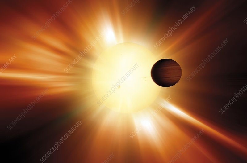 Exoplanet and star, artwork