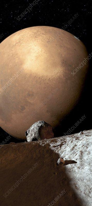 Mars seen from Phobos, artwork
