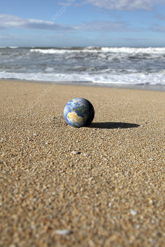 Earth on a beach, composite image