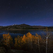 Night sky over June Lake, California, USA