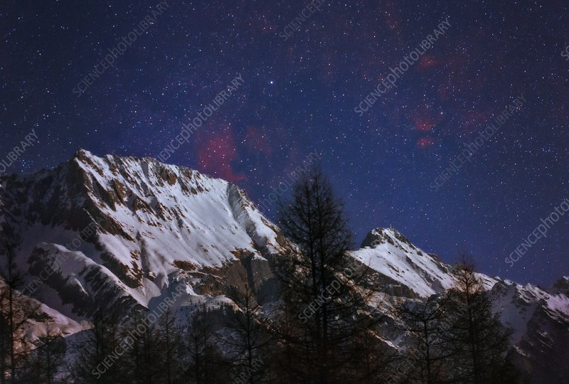 Night sky over the Tyrol Alps, Austria