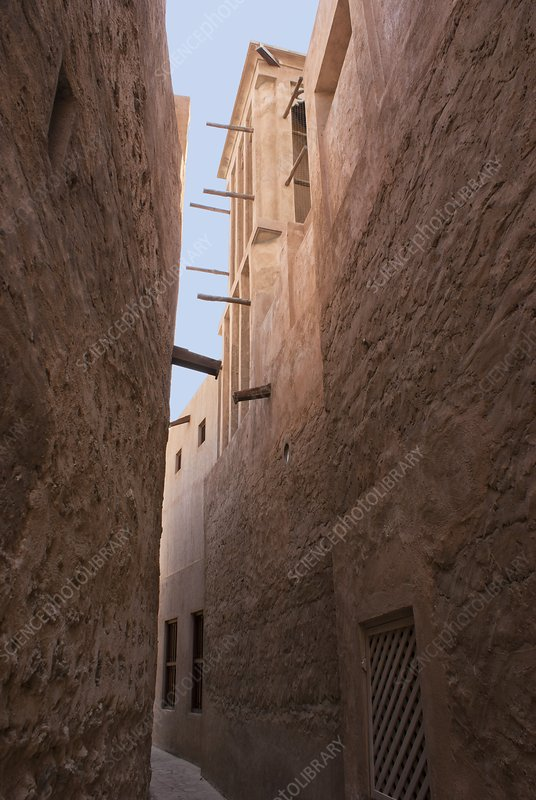 Dubai alley with wind tower.