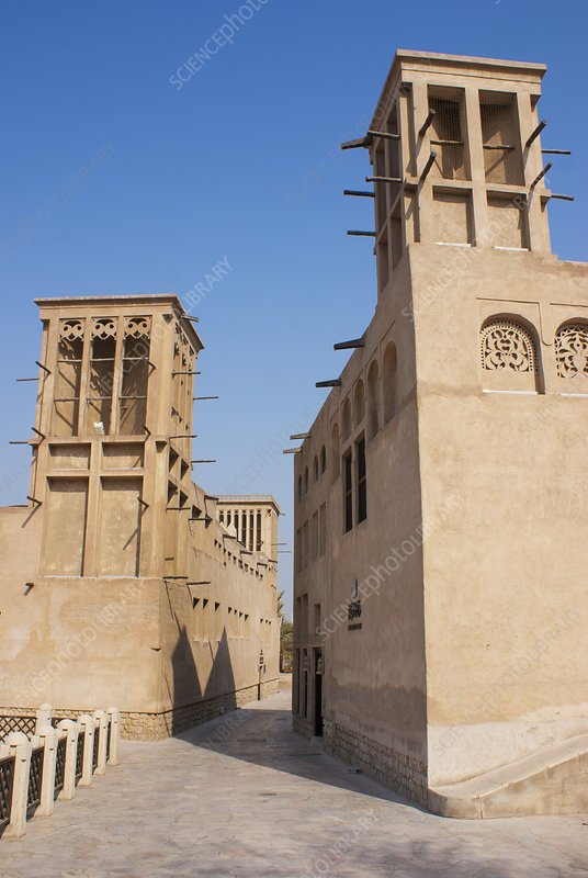 Wind towers in Dubai old town.