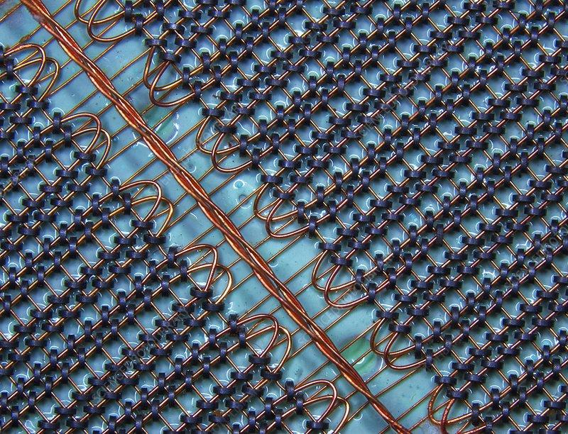 Magnetic-core memory array, macrophoto