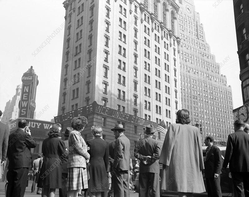 News of D-day landings, New York, 1944