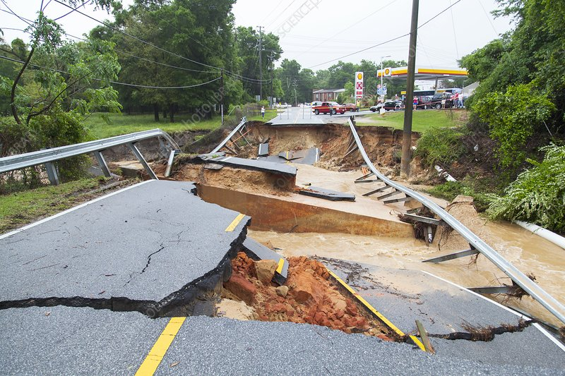 Road washed out by flooding