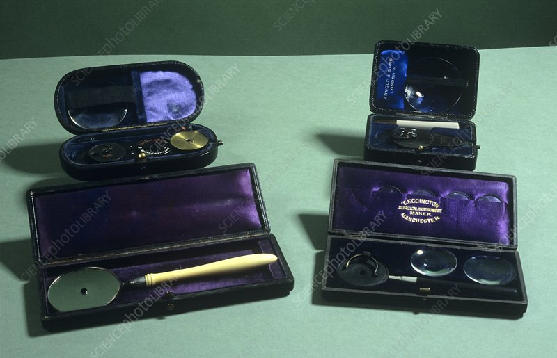 Four ophthalmoscopes, 19th century