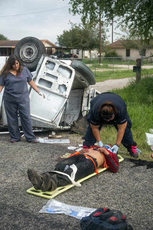 Crash victim being treated