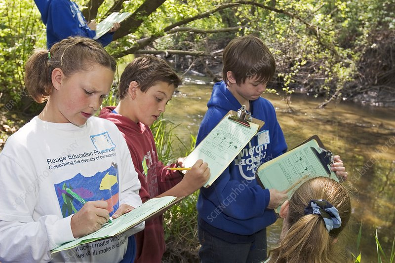 Students studying river water quality