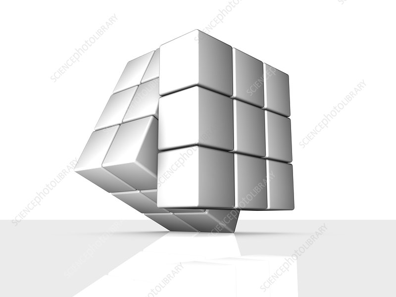 Rotating cube, artwork