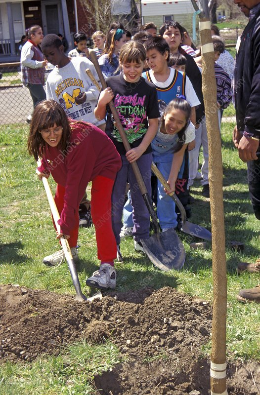 Children planting a tree for Earth day