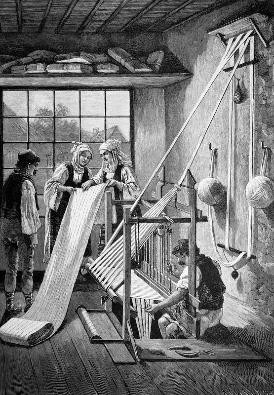 Cotton loom, 19th century artwork