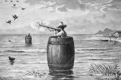 Duck hunting, 19th century artwork
