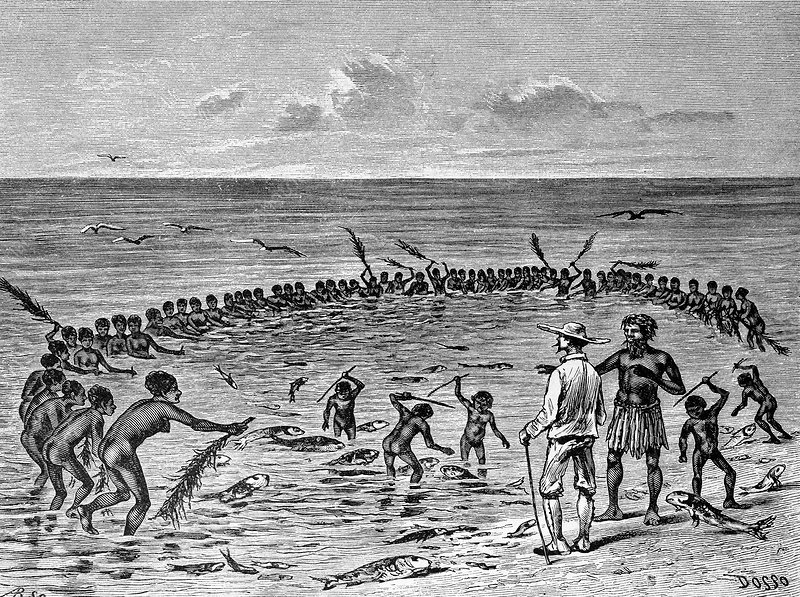 Samoans fishing, 19th century artwork