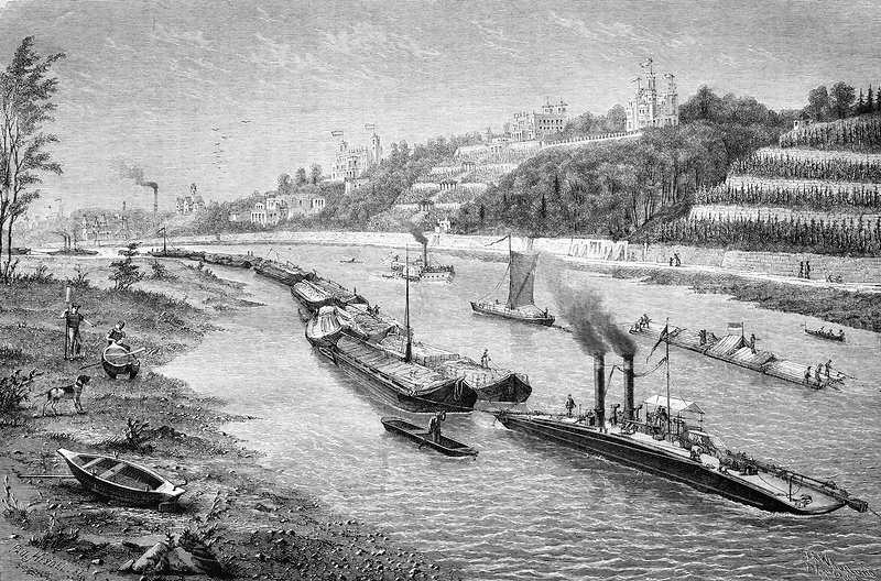 Chain boat and barges, artwork