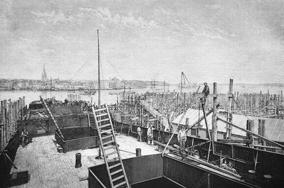 Kiel harbour, 19th century artwork