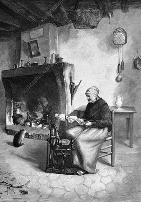 Spinning wool, 19th century artwork