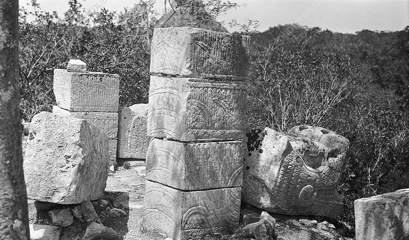 Mayan temple carvings, 1910s