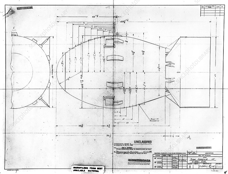 Fat Man atomic bomb blueprint - Stock Image C021/2942 - Science ...