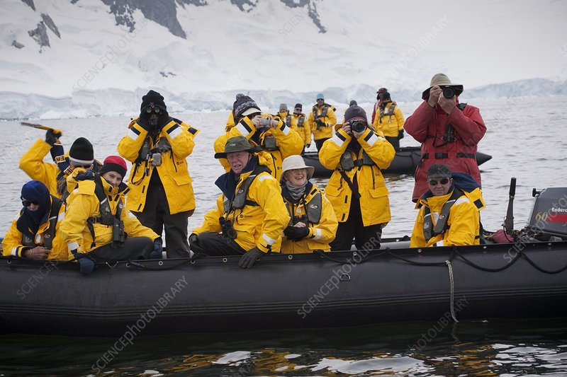 Tourists whale-watching in Antarctica