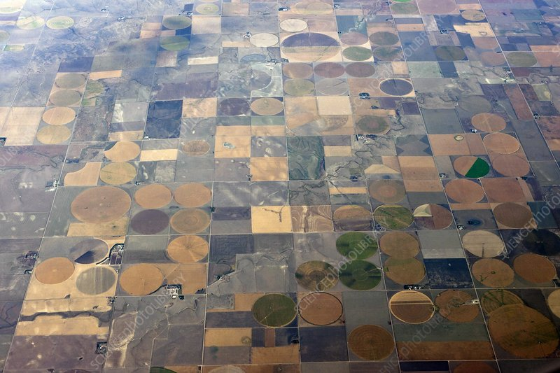 Aerial view of agriculture in the USA