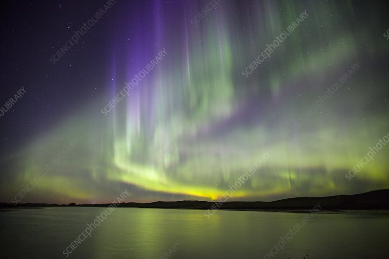 Aurora borealis over water