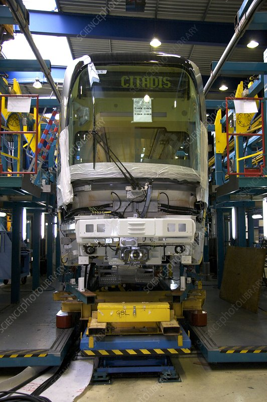 Citadis tram on its assembly line