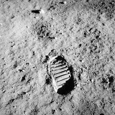 Apollo 11 bootprint on Moon, 1969