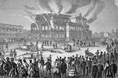 Dresden opera house on fire, artwork