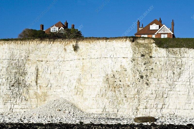 Chalk cliffs and houses