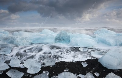 Glacial ice on volcanic beach, Iceland