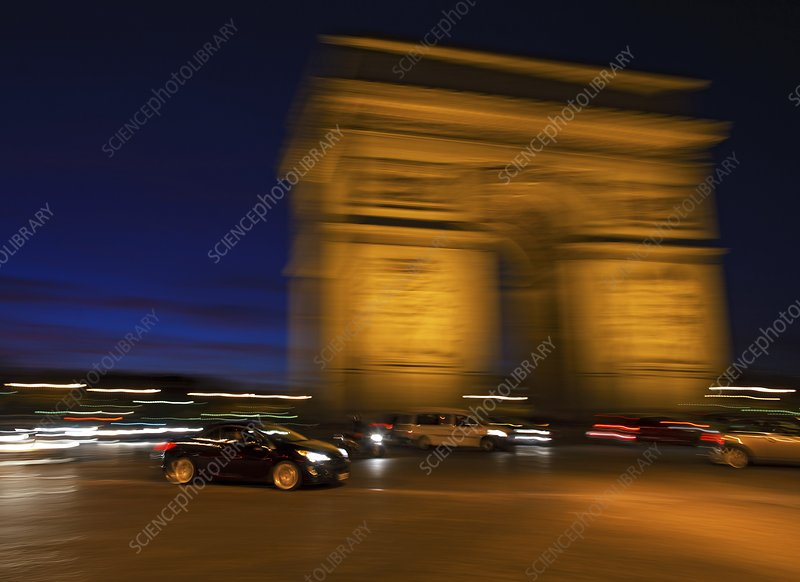 Traffic at the Arc de Triomphe, France