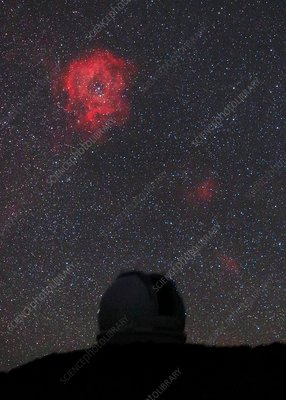 Rosette Nebula and telescope